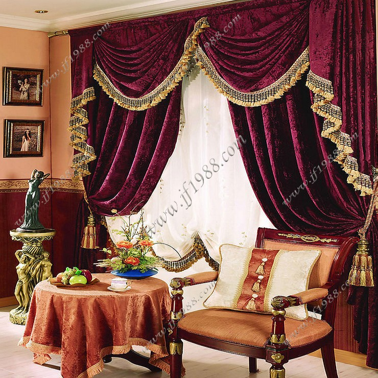 Free Shipping Quality Luxury Fashion Red Velvet Thickening Flash Living Room Curtain Customize