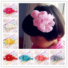 12Clr children accessories Infant newborn Baby girl accessories 3roses&Pearl flower Head bands Headwear HairBand w044