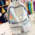 sac a dos Mochila Masculina backpack Women Silver Hologram Laser Back pack men s Bag leather