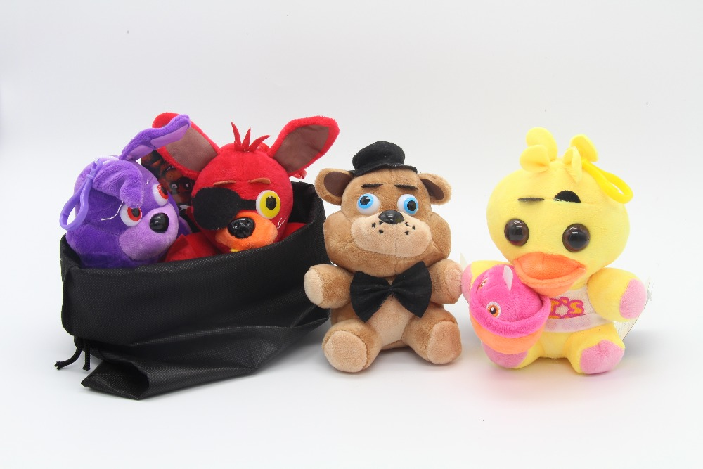 4pcs/set +1 bag 15cm Five Nights Freddy FNAF Fox Bear Bonnie Toys Plush Pendants Keychains Dolls Gift Bag - Fashion watches and toy stores store