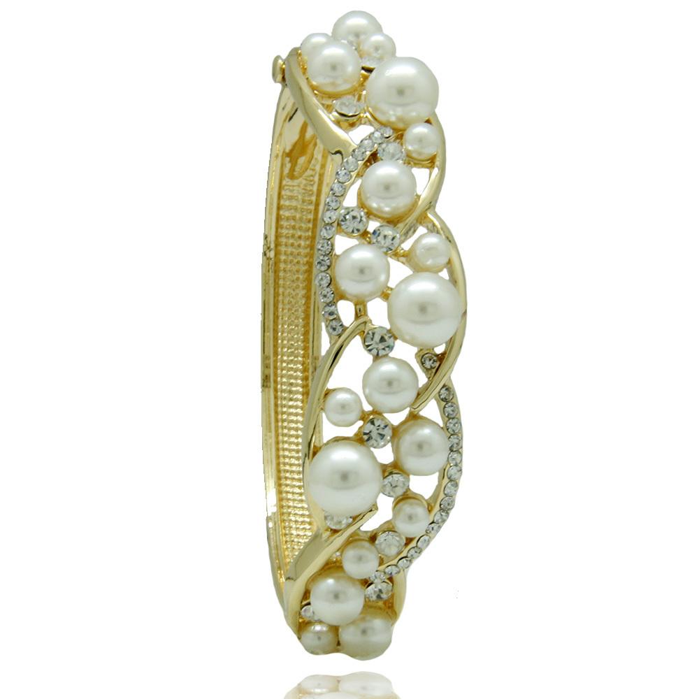 Luxurious Korean Gold Plated Full Rhinestone Simulated Pearl Bangles wedding accessories 2015 new jewelry(China (Mainland))