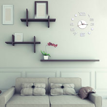 Modern Design DIY Large Digital Watch Wall Sticker Big Clocks Home Decor 3D Mirror Wall Clocks(China (Mainland))