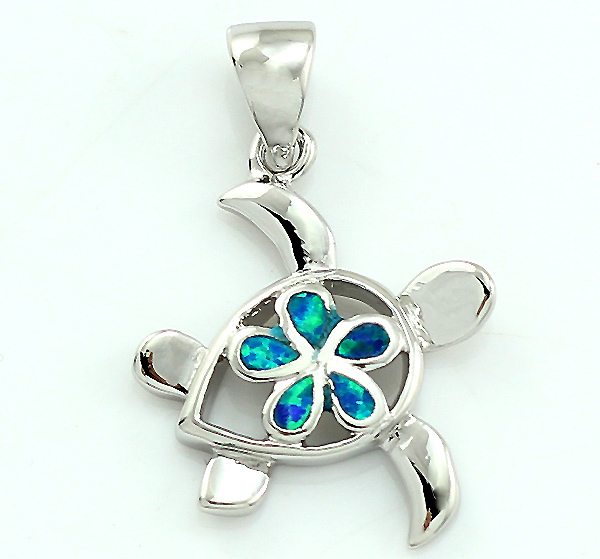 2015 New Fashion Jewelry Cute Turtle Silver Plated Blue Fire Opal Pendant For Women 1''(China (Mainland))