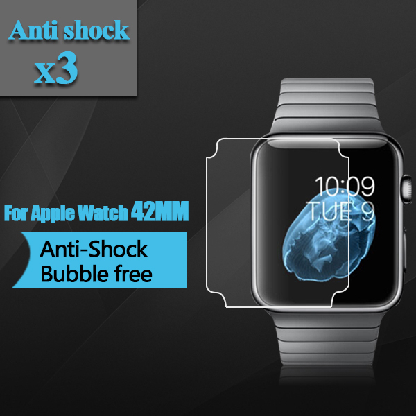 Premium TPU Anti-Shock Screen Protector for Apple Watch 42mm Full Screen Coverage Screen Protector for Apple Watch 42mm 3pcs/lot(China (Mainland))