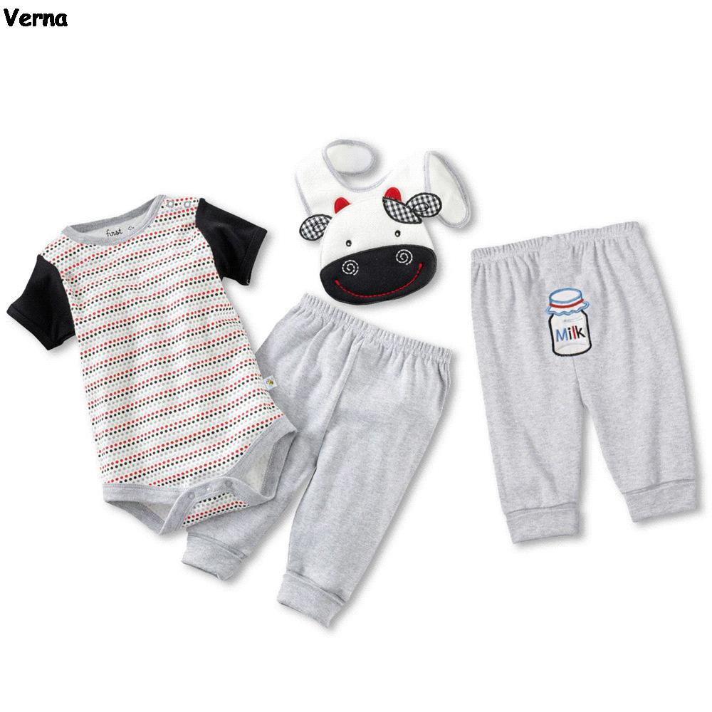 Baby Clothing Set Milk Cow Baby Clothes Striped Outfits Cotton Jumpsuits Three-Pieces Bodysuits And Pants Baseball Baby Bibs(China (Mainland))