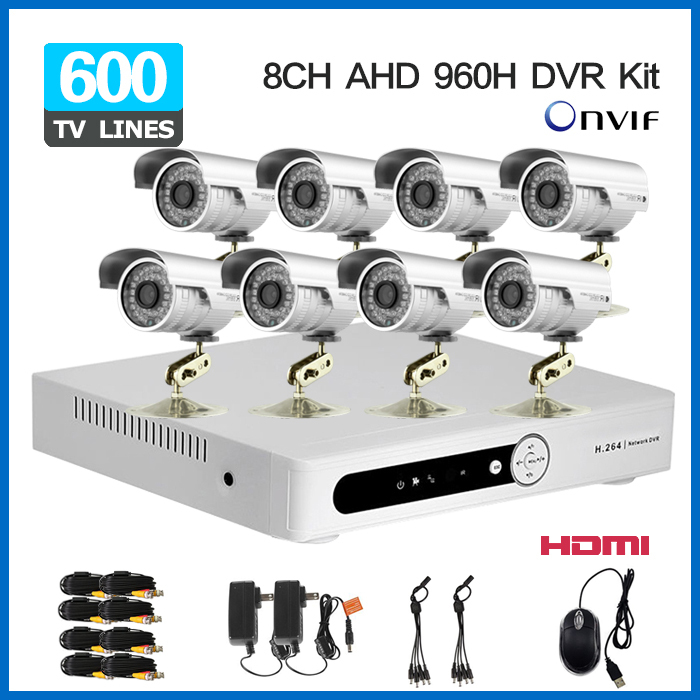 8 Channel AHD 960H DVR with 480TVL Outdoor waterproof video Camera System 8CH CCTV surveillance System H.264 network DVR NVR KIT<br><br>Aliexpress