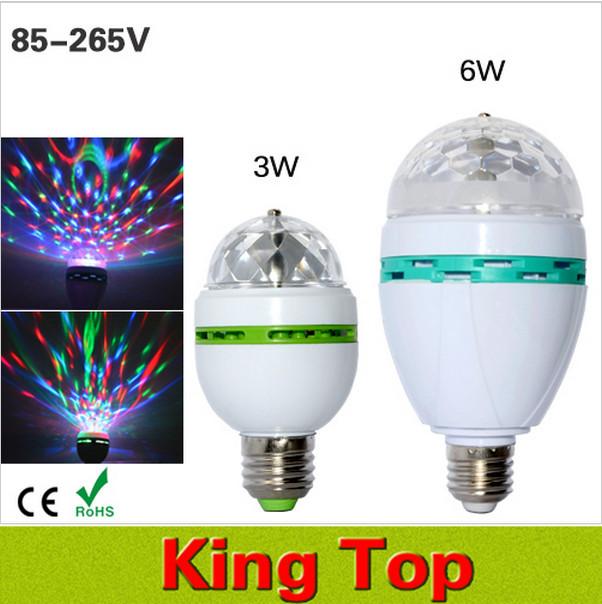 3W 6W AC85-265V New Colourful RGB Led Spotlight Auto Rotating lighting for holiday/KTV/Bar/Disco Led Bulb Lamp lighting 1PCS(China (Mainland))
