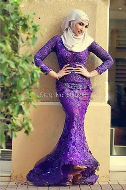 Muslim Dark Purple Mermaid Prom Dresses 2016 Long Sleeves ...