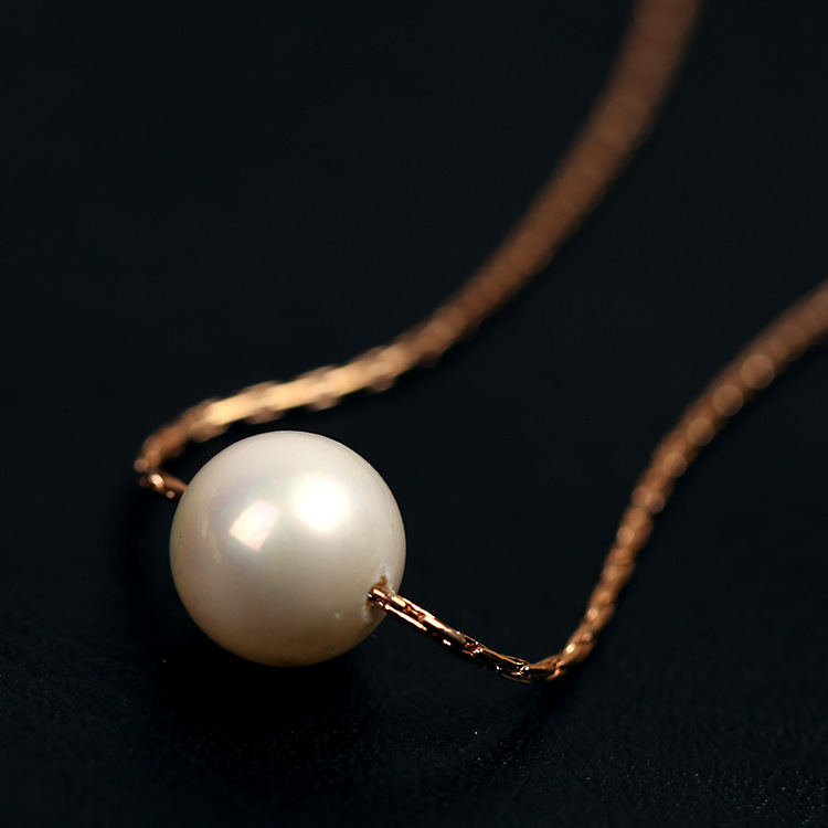 Simple Pearl Necklace 18K Rose Gold Plated Fashion women Jewellery Pendant Crystal necklace - Sycamore Trade store