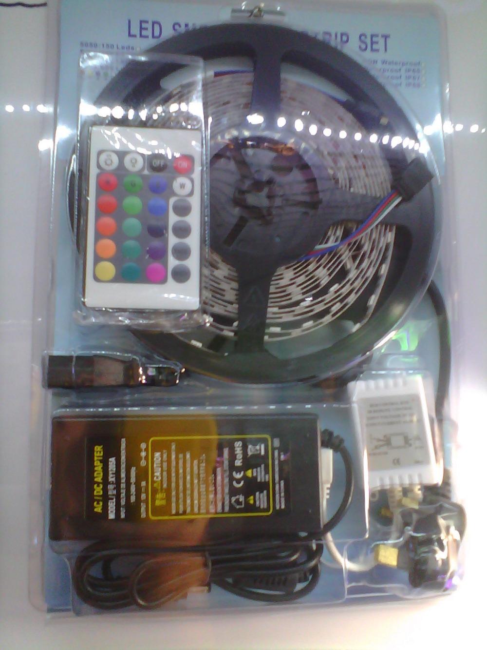 Free shipping 5meters/lot 60 led/m 5050RGB led strip,5m/144W IP20,24 key controller,12V 5a  transfomer,high lumens,full set,IP20<br><br>Aliexpress