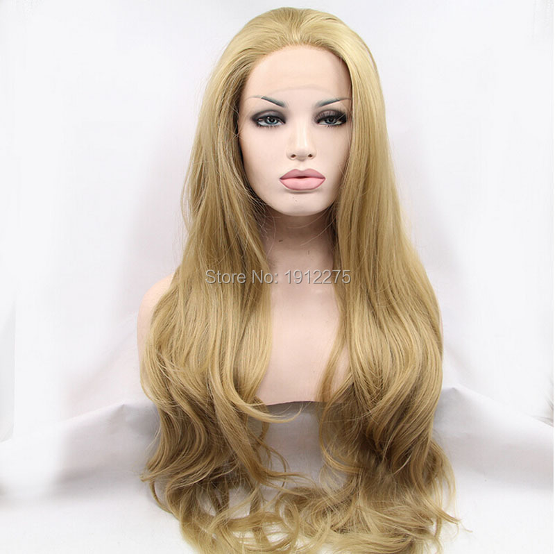 new arrival blonde lace front wigs for women synthetic natura wave hair heat resistant wig free shipping