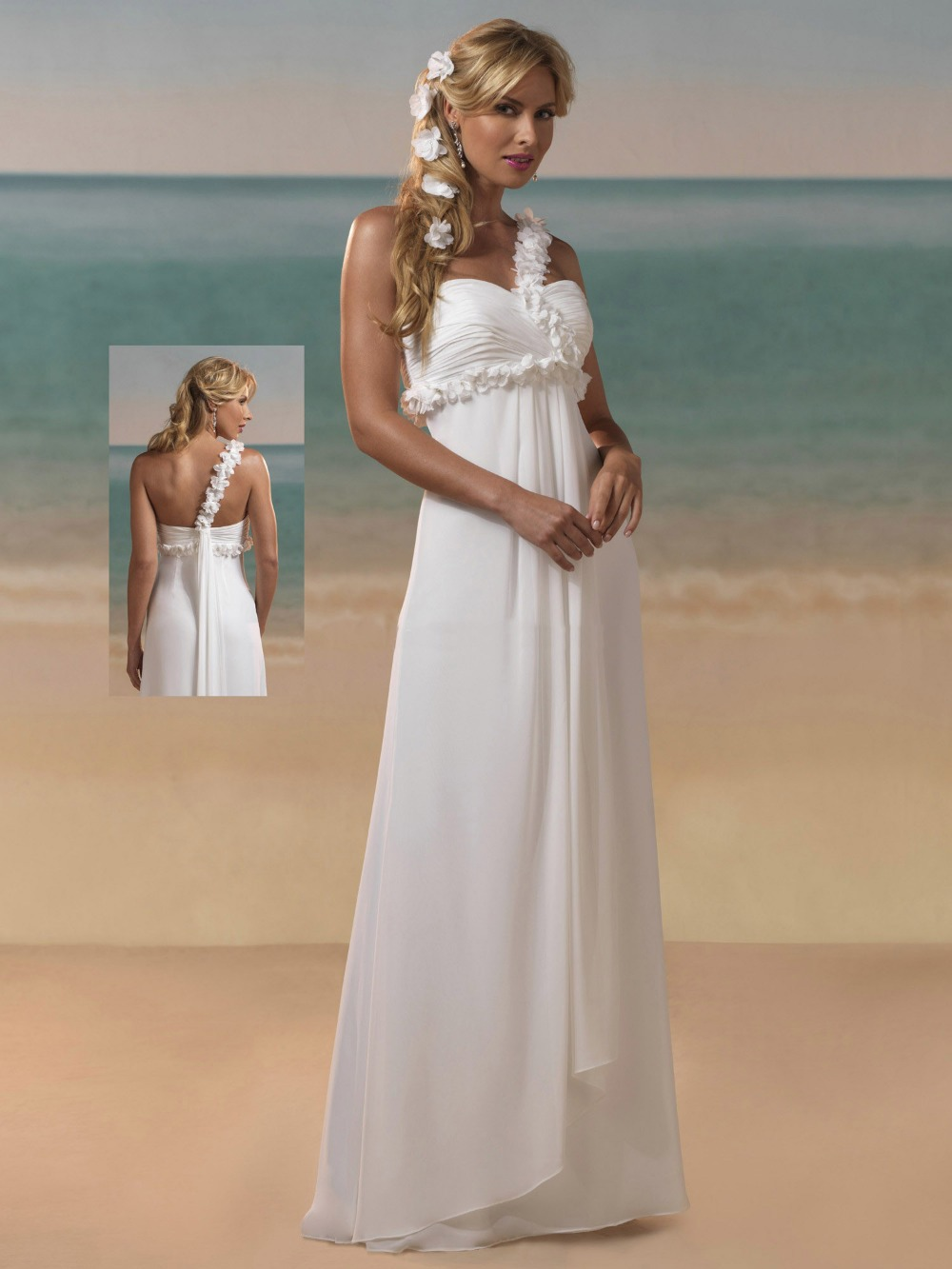 Simple and elegant sexy sweetheart one shoulder chiffon for Beach chiffon wedding dress