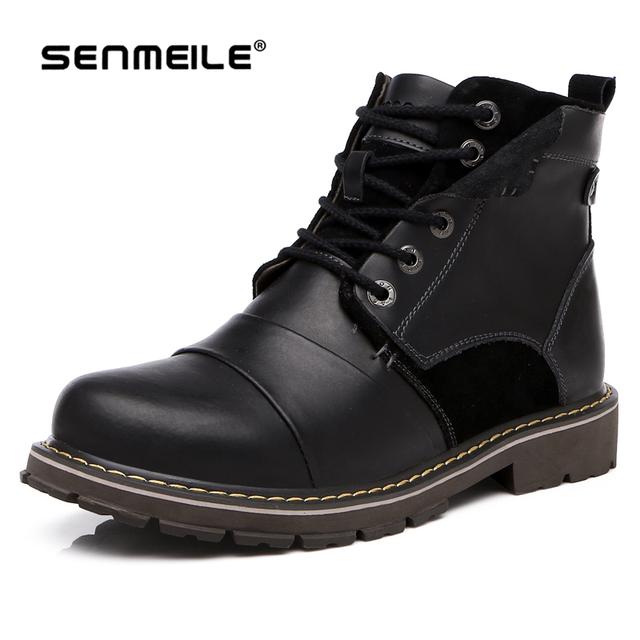 2016 новый стиль черный и коричневый Кожаный Твердые Босоножки Ботильоны Водонепроницаемый для мужчин 38-44