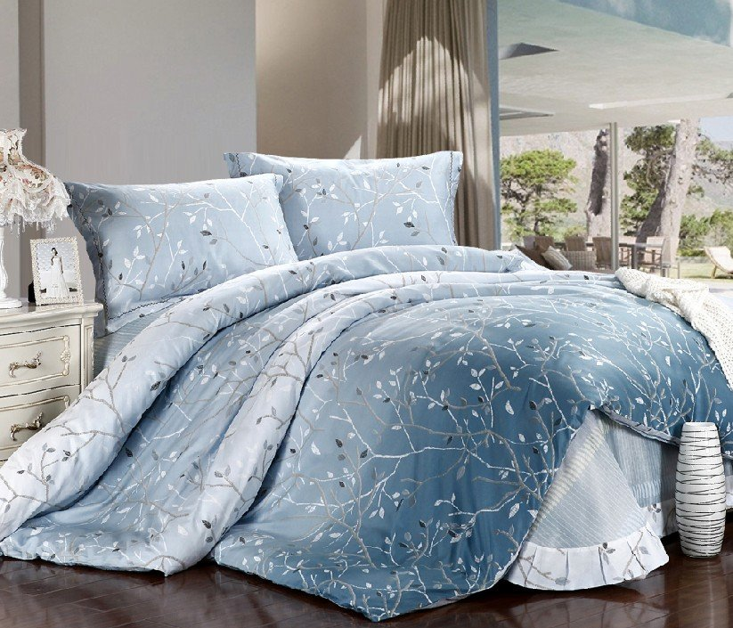 New beautiful 4pc 100 cotton comforter duvet doona cover sets full queen king size bedding for Beautiful bedroom comforter sets