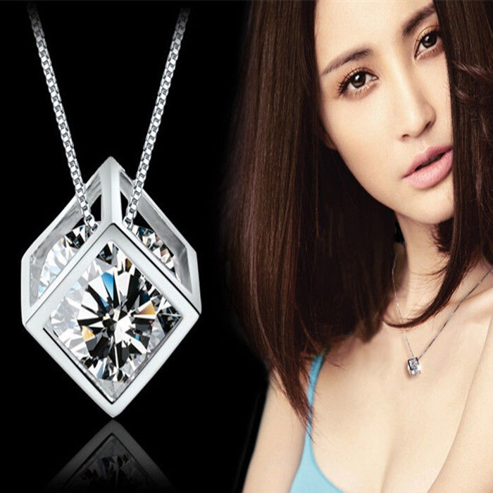 Fashion Womens Jewelry Magic Cube Silver Crystal chain Necklace Pendant Gift New(China (Mainland))