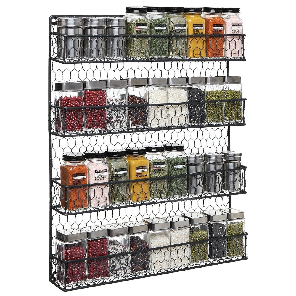 4 Tier Black Country Rustic Chicken Wire Pantry, Cabinet or Wall Mounted Spice Rack Storage Organizer(China (Mainland))
