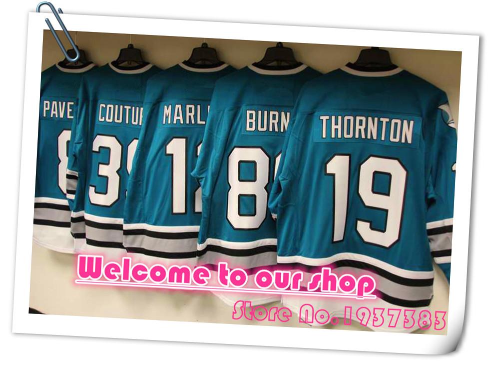 High Quality #88 Brent Burns Hockey Jerseys 12 Patrick Marleau Green 19 Joe Thornton Black 8 Joe Pavelski White Stitched Jerseys(China (Mainland))