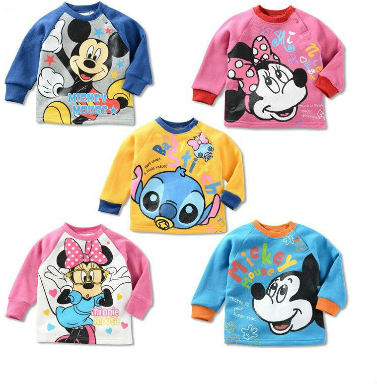 girls boys children thick tee shirt fit 1-5yrs baby kids fleece shoulder clasper sweatshirt clothing 2 5design 4size - sonia hu's store