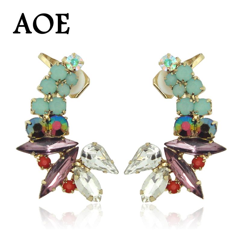 1 Pair 2016 New Fashion Luxury Rhinestone Crystal Ear Cuff Earrings For Women Girl Clip Earrings Earcuff Party Gift(China (Mainland))