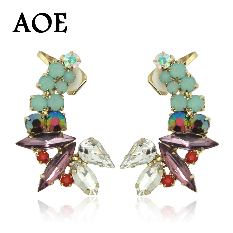 1 Pair 2016 New Fashion Luxury Rhinestone Crystal Ear Cuff Earrings For Women Girl Clip Earrings Earcuff Party Gift(China (Mainland))