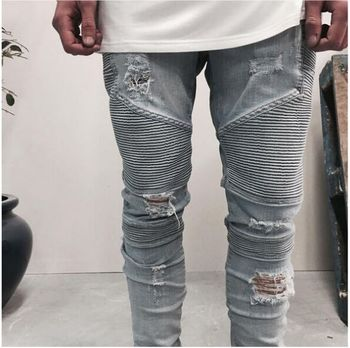 2017 street  clothing designer pants slp blue/black destroyed mens slim denim straight biker skinny jeans men ripped jeans 28-38