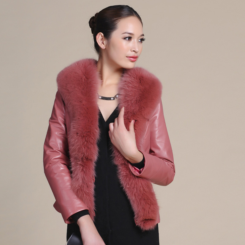 2013 Autumn Winter Women's Genuine Sheepskin Leather Jacket Fox Fur Collar Female Slim Outerwear VK1011 - BESTOPPO Foreign Trade Co., Ltd. store