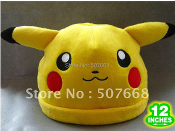 Pokemon Pikachu Face Anime Plush Cap Cosplay Hat Warm