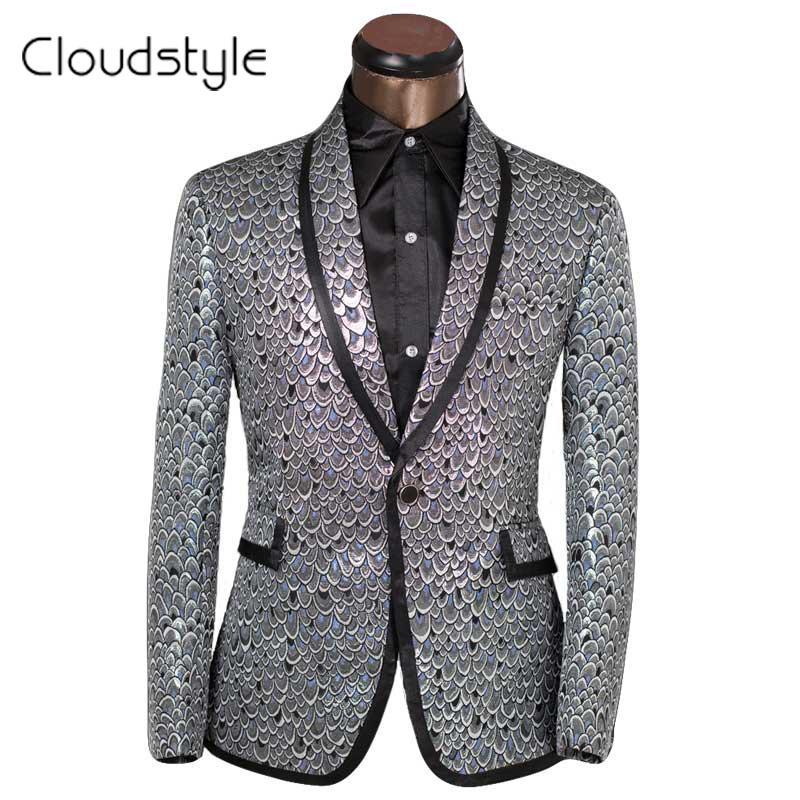 2016 Brand Clothing Lastest Men Blazer Golden & Sliver Scale Design Slim Fit Prom Suits Tuxedo Wedding Party Blazer Size XS-6XL(China (Mainland))