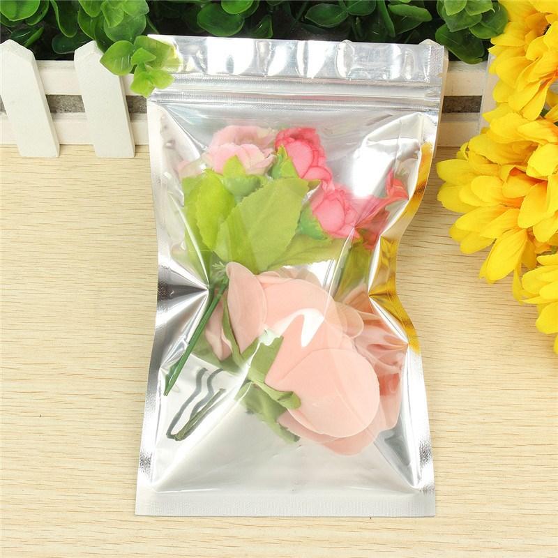 Best Price 100PCS Translucent Aluminium Foil Zip Lock Bag Silver Metallic Aluminum Malar And Resealable Plastic Pouch 12x20cm(China (Mainland))