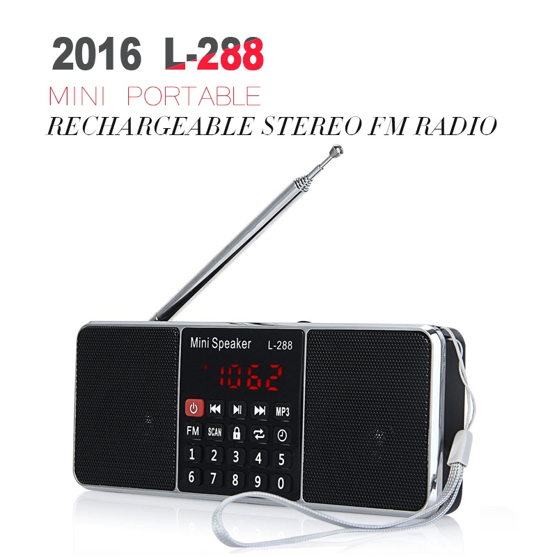 L-288 Mini Portable FM Radio Speaker Support TF Card USB Disk MP3 Multifunctional Music Player Big LCD Screen(China (Mainland))
