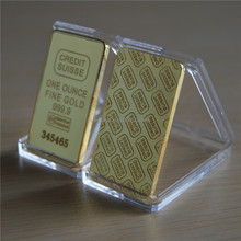 The CREDIT SUISSE 1oz Pure Gold Plated Bullion Bar Replica souvenir coin gift,20pcs/lot laser number. Free shipping. 1pcs/6USD(China (Mainland))