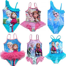 Retail 2015 Kids Swimsuit 3 10Y Girls Elsa Anna Swimwear Children Swim Costume Sunbath Beachwear Bikini