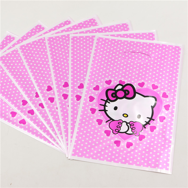 New! 10pcs/lot Hello Kitty gift Bags PE loot bag supplies baby shower Candy Plastic Packaging Bags Wholesale P221(China (Mainland))