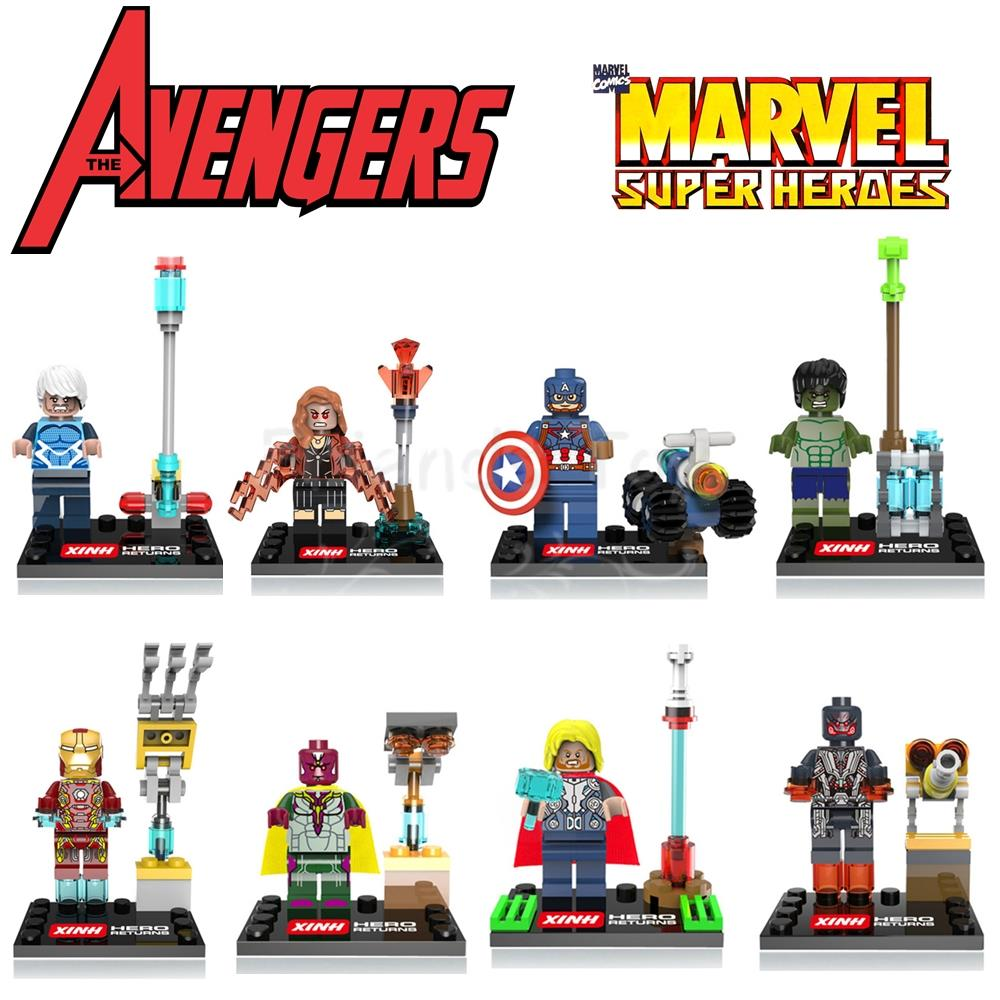 10Sets/Lot Avengers 2 Ultron Marvel Quicksilver Vision Iron Man Hulk Thor Xinh 059-066 Minifigure Compatible Lego - Fun & Roses store