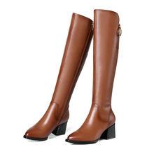 Esveva 2020 Nữ Giày Nữ Phong Cách Phương Tây Mũi Nhọn Mùa Đông Giày Khóa Vuông Med Gót Xe Máy Giày Cao Đến Đầu Gối Giày size 34-42(China)