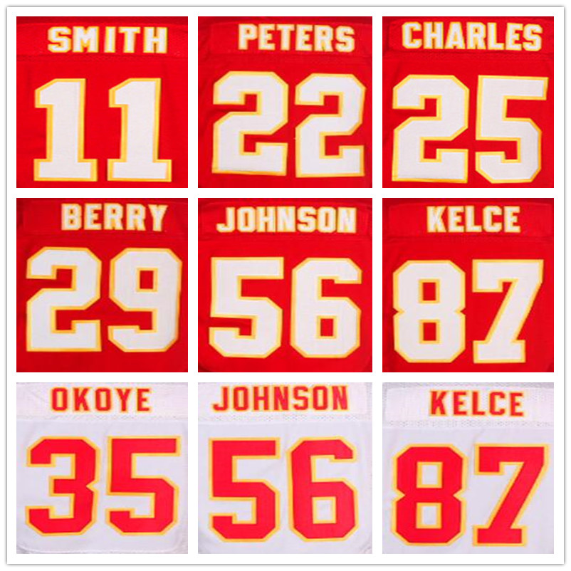 #87 Travis Kelce white 22 Marcus Peters jersey 29 Eric Berry red11 Alex Smith 25 Jamaal Charles Elite jerseys 56 Derrick Johnson(China (Mainland))