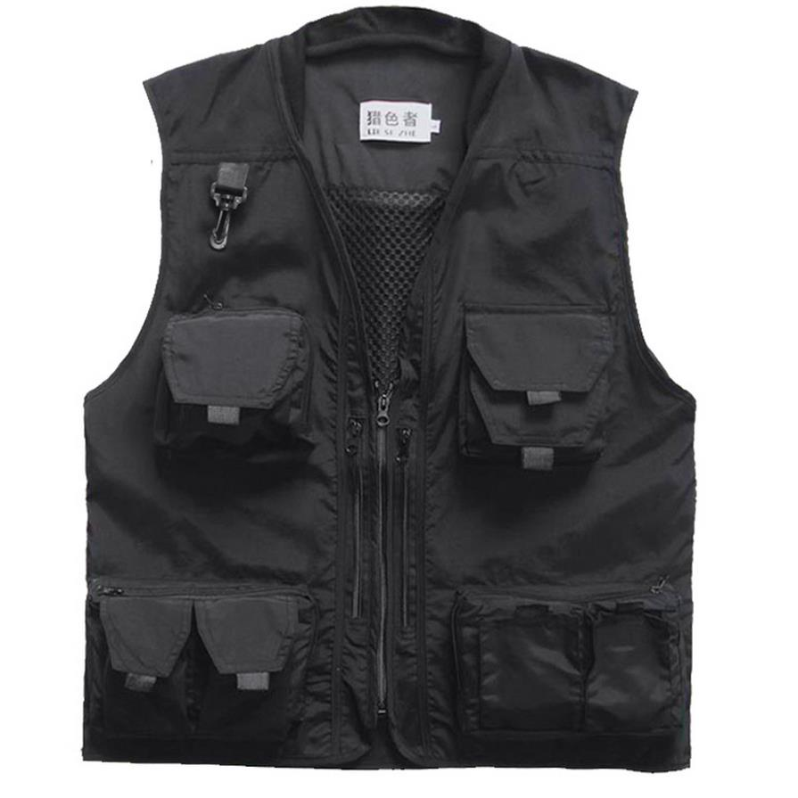 Black Photography Vest 3xl Mens Outdoor Waterproof Travel Vest With Pockets Photographer Sleeveless Jacket Red Green(China (Mainland))