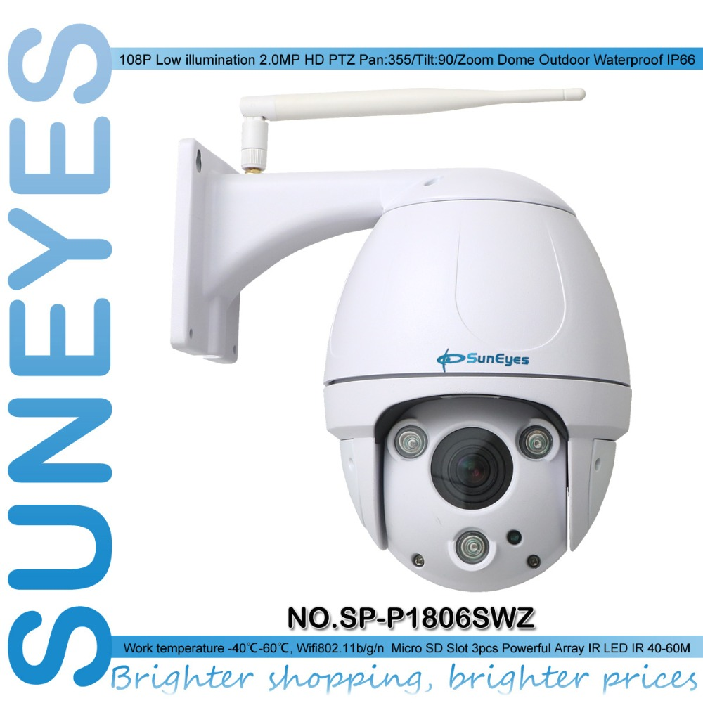 SunEyes SP-P1806SWZ 1080P Full HD PTZ Dome IP Camera Wireless Outdoor Waterproof with Micro SD Slot Super IR Night Vision Zoom(China (Mainland))