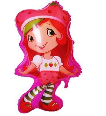 50pcs/lot 75*42m Strawberry Shortcake balloon Cartoon Strawberry girl foil balloons birthday party helium globos girl toys