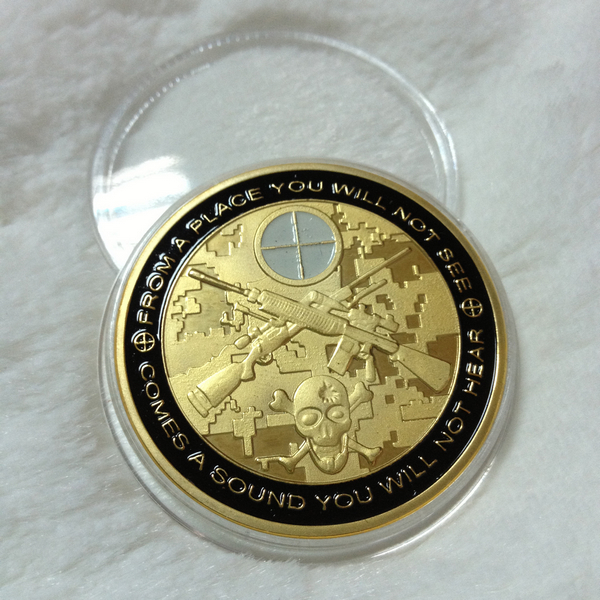 Sniper Skull Coin Sniper Gold Plated Coins