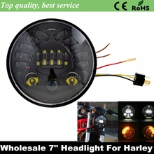 "Buy 7"" LED Harley Motorcycle Headlight Daymaker Black Projector DRL H4 Hi/Lo Beam Harley Switchback FLD Fat Boy FLSTF Lo FLSTFB for $38.78 in AliExpress store"