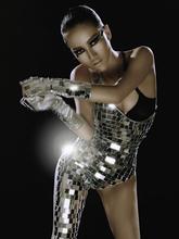 2016 новый металл блестки dj тенденция певица спуск объектив косой костюм боди зеркало