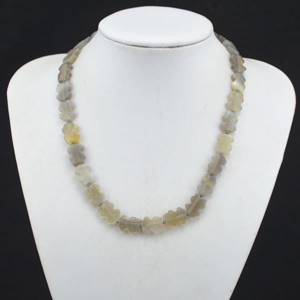 R119H Natural Teddy Bear Bead Stone Chian Necklace Pendant Jewlery Women Girl,Vintage, wholesaler(China (Mainland))