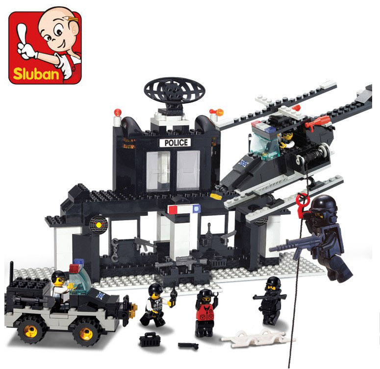 Educational DIY Toys for children Sluban Building police office self-locking bricks Compatible with Lego(China (Mainland))