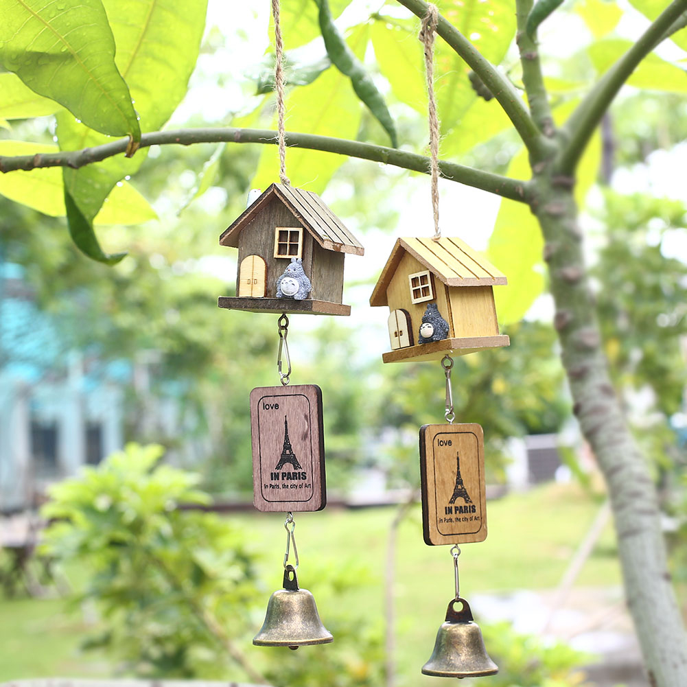 Japanese totoro wooden house landscape garden outdoor for Outdoor hanging ornaments