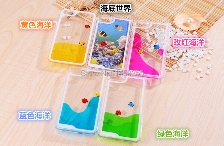 sea case for iPhone 5&5s luminous liquid quicksand dynamic mobile phone protective cover,Fish swim in the water(China (Mainland))