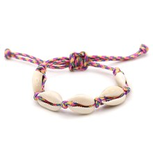 Colorful 2mm Rope Shell Charm Braid Bracelets for Women Handmade Luck Bracelets Male Shell Adjustable Bracelet Drop shipping(China)