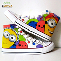 LUC Children Shoes Breathable Cartoon Despicable Me Style Canvas Shoes High Top Shoes Hand Painted Shoes