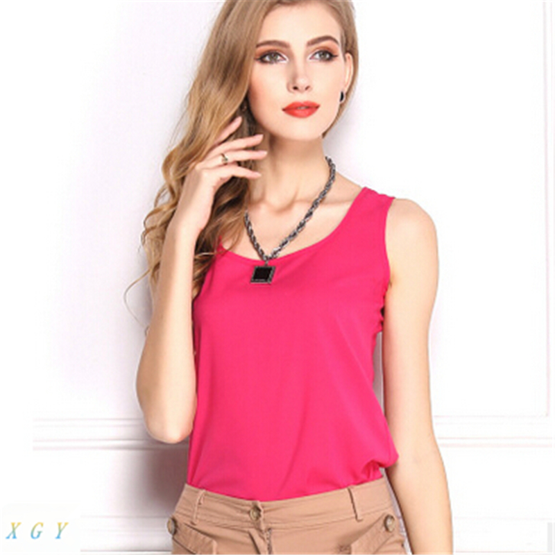 Summer New 7Size Women Clothing Fashion Chiffon Tank Tops Vest Shirts Solid Candy Color Loose Top Shirt Jason2002 - Jason Co., Ltd. store