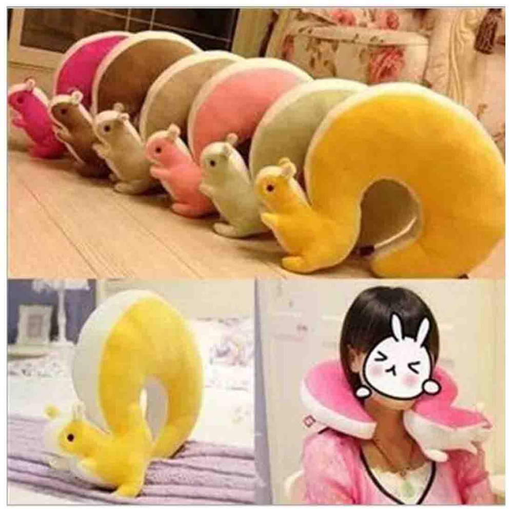 lovely Big tail stereo little squirrel Creative lunch u-shaped neck pillow plush toy(China (Mainland))